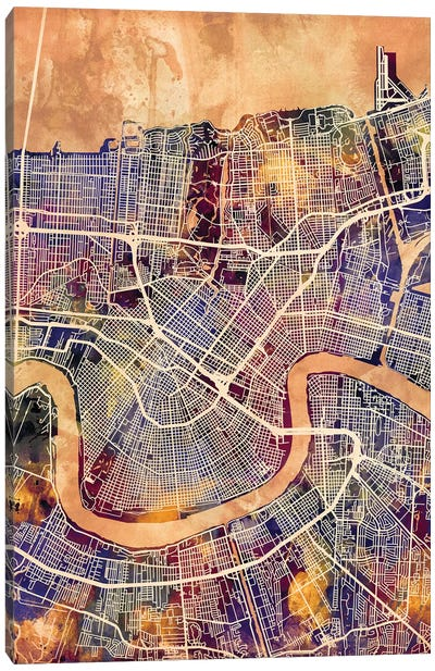 New Orleans Street Map II Canvas Art Print