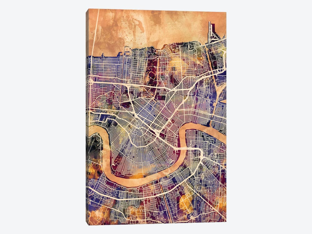 New Orleans Street Map II 1-piece Canvas Artwork