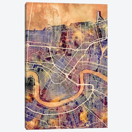 New Orleans Street Map II 3-Piece Canvas #MTO1744} by Michael Tompsett Canvas Artwork