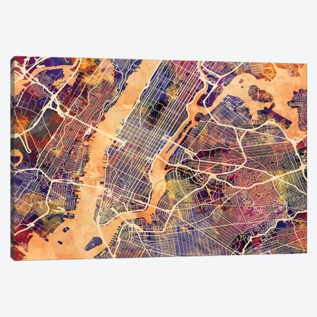 New York City Street Map I Canvas Print #MTO1745} by Michael Tompsett Canvas Art