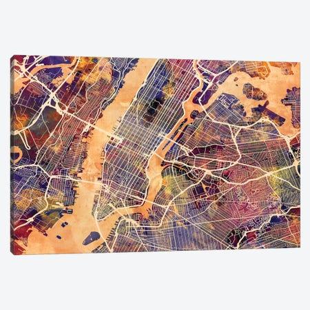 New York City Street Map I Canvas Print #MTO1745} by Michael Tompsett Canvas Art