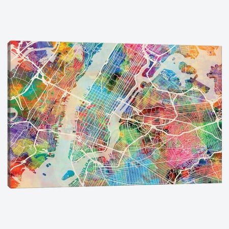 New York City Street Map II Canvas Print #MTO1746} by Michael Tompsett Canvas Wall Art