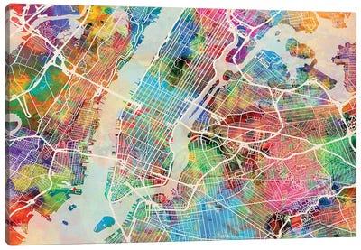 New York City Street Map II Canvas Art Print