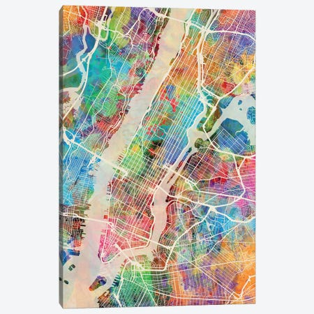 New York City Street Map III Canvas Print #MTO1747} by Michael Tompsett Canvas Artwork