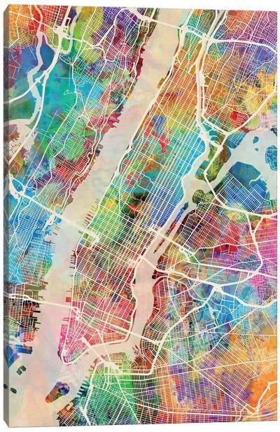 New York City Street Map III Canvas Art Print