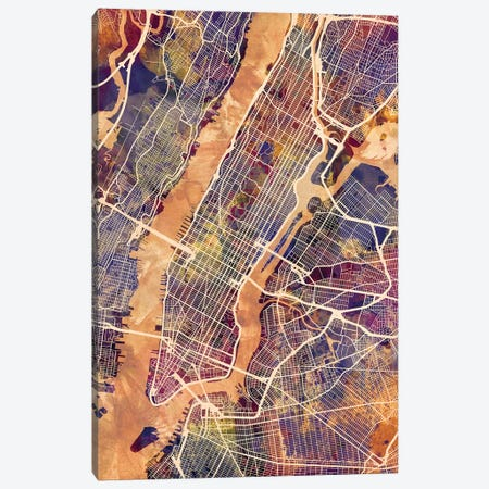 New York City Street Map IV Canvas Print #MTO1748} by Michael Tompsett Art Print