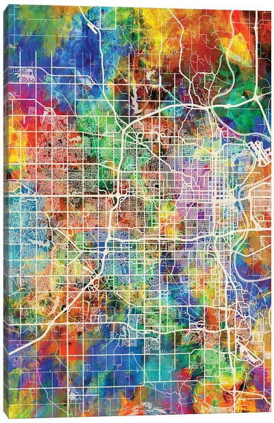 Omaha Nebraska City Map I Canvas Art Print