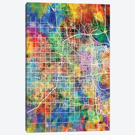Omaha Nebraska City Map I Canvas Print #MTO1749} by Michael Tompsett Canvas Art Print