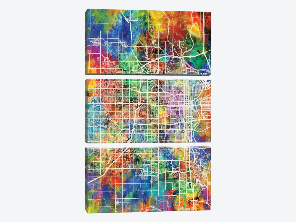 Omaha Nebraska City Map I by Michael Tompsett 3-piece Canvas Print