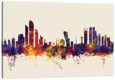 Skyline Series: Abu Dhabi, UAE On Beige Canvas Print #MTO174
