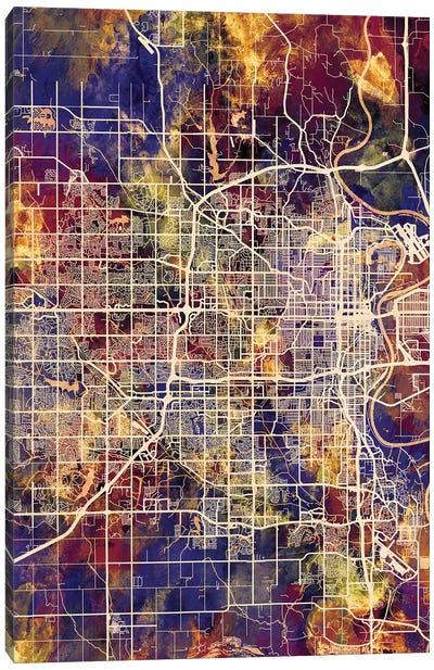 Omaha Nebraska City Map II Canvas Art Print