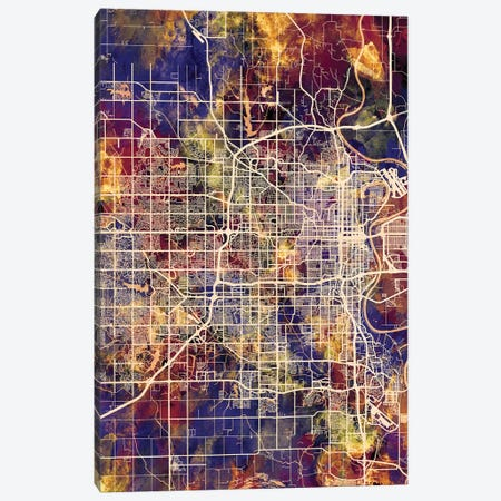Omaha Nebraska City Map II Canvas Print #MTO1750} by Michael Tompsett Canvas Artwork