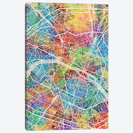 Paris France City Map I Canvas Print #MTO1751} by Michael Tompsett Canvas Wall Art