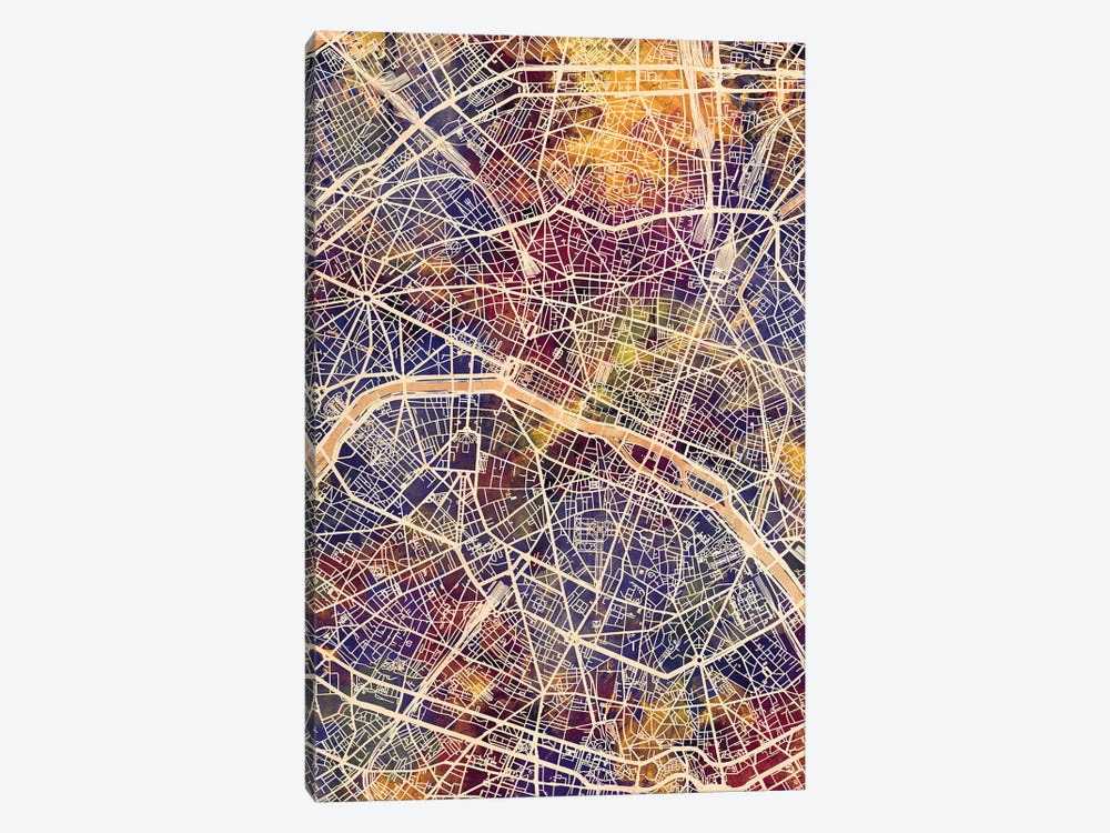 Paris France City Map II by Michael Tompsett 1-piece Canvas Print
