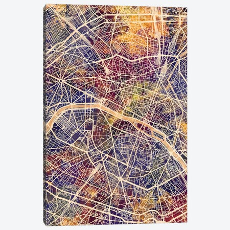 Paris France City Map II Canvas Print #MTO1752} by Michael Tompsett Canvas Artwork