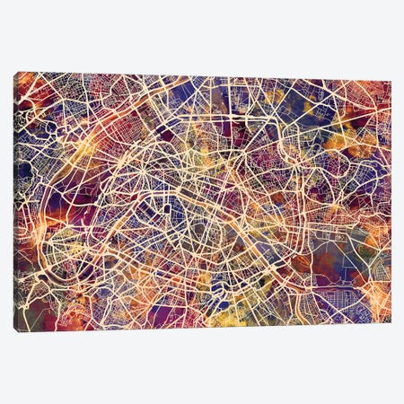 Paris France City Street Map III Canvas Print #MTO1753} by Michael Tompsett Canvas Artwork