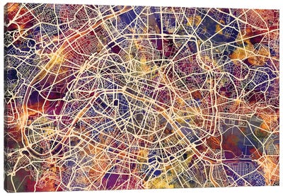 Paris France City Street Map III Canvas Art Print