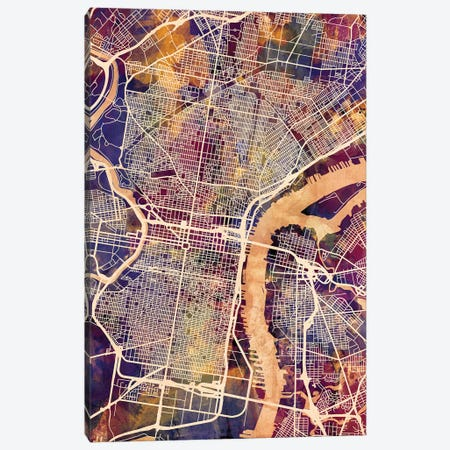Philadelphia Pennsylvania City Street Map I Canvas Print #MTO1754} by Michael Tompsett Art Print