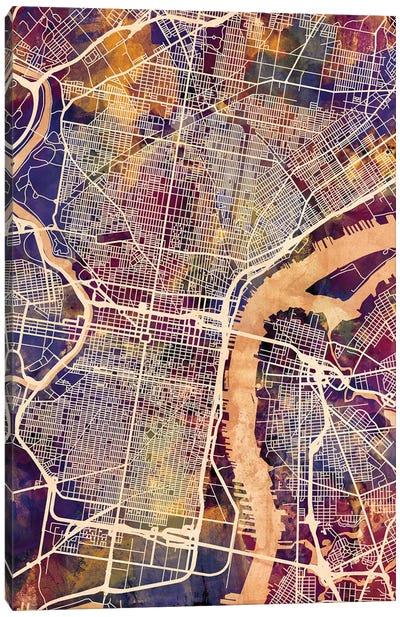 Philadelphia Pennsylvania City Street Map I Canvas Art Print