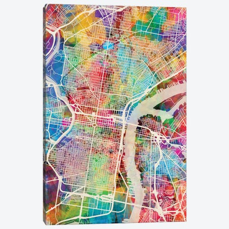 Philadelphia Pennsylvania Street Map II Canvas Print #MTO1755} by Michael Tompsett Art Print