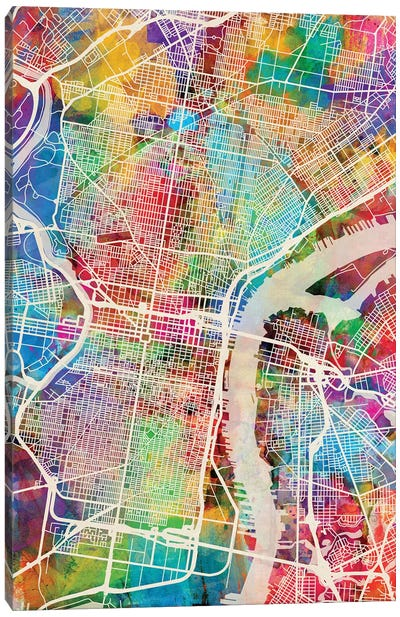 Philadelphia Pennsylvania Street Map II Canvas Art Print