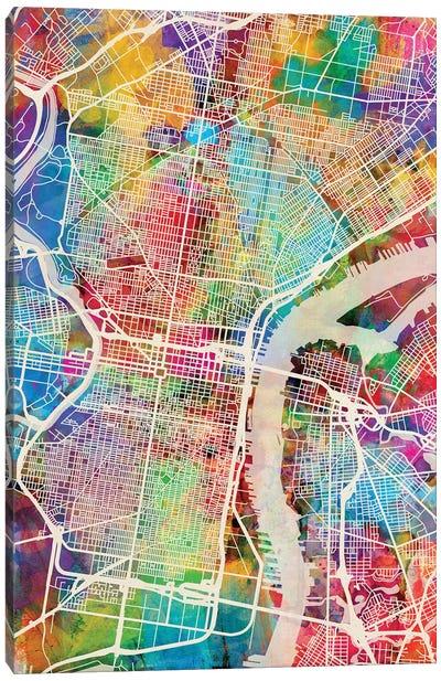 Philadelphia Pennsylvania Street Map II Canvas Art Print