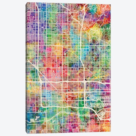 Phoenix Arizona City Map I Canvas Print #MTO1756} by Michael Tompsett Canvas Print