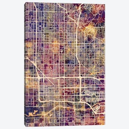 Phoenix Arizona City Map II Canvas Print #MTO1757} by Michael Tompsett Canvas Print