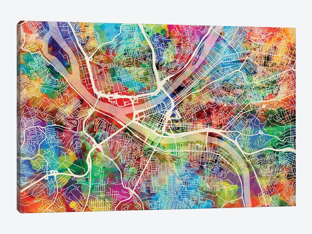 Pittsburgh Pennsylvania Street Map I by Michael Tompsett 1-piece Canvas Print