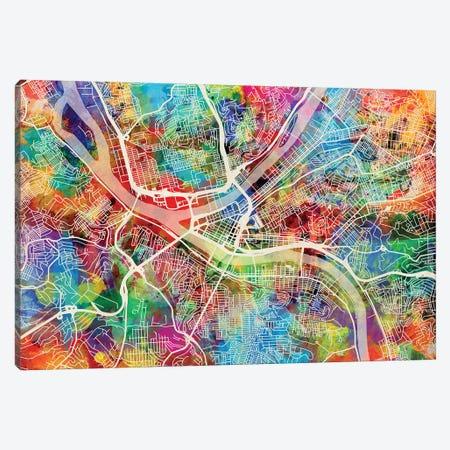 Pittsburgh Pennsylvania Street Map I Canvas Print #MTO1758} by Michael Tompsett Canvas Wall Art