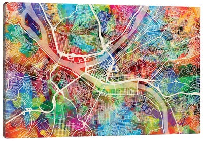 Pittsburgh Pennsylvania Street Map I Canvas Art Print