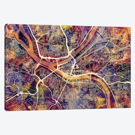 Pittsburgh Pennsylvania Street Map II Canvas Print #MTO1759} by Michael Tompsett Canvas Wall Art