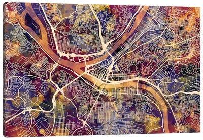 Pittsburgh Pennsylvania Street Map II Canvas Art Print