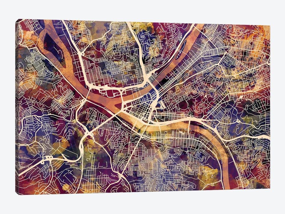Pittsburgh Pennsylvania Street Map II by Michael Tompsett 1-piece Canvas Wall Art