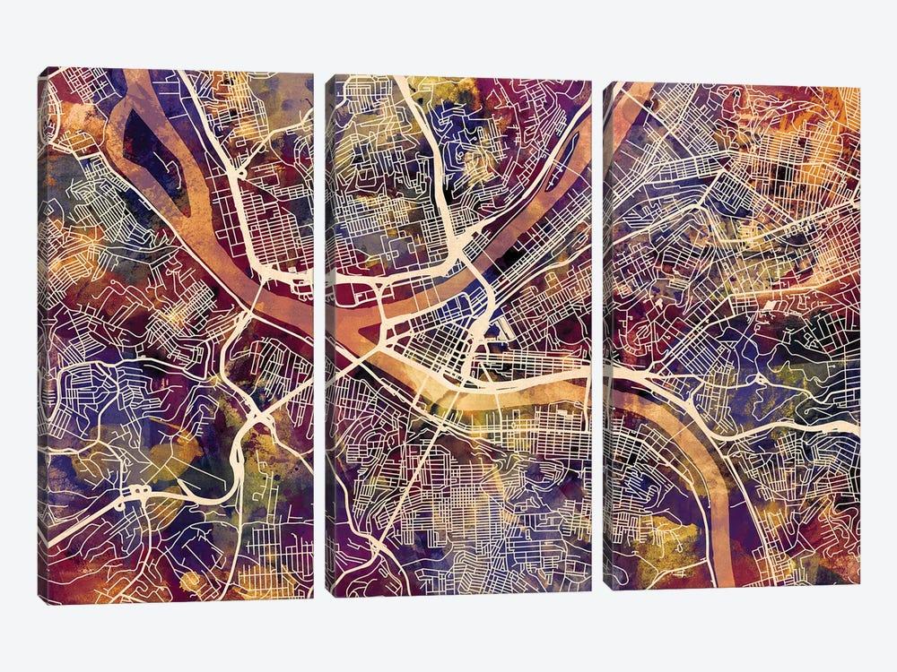 Pittsburgh Pennsylvania Street Map II by Michael Tompsett 3-piece Canvas Artwork