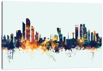 Abu Dhabi, UAE On Blue Canvas Art Print