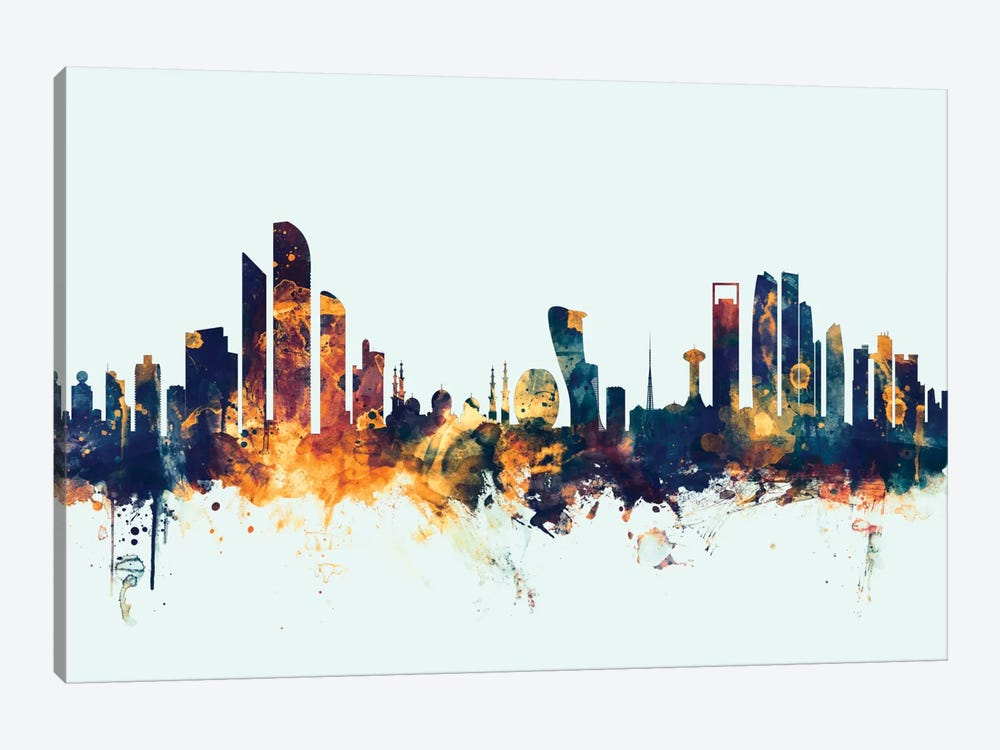 Skyline Series: Abu Dhabi, UAE On Blue by Michael Tompsett 1-piece Canvas Wall Art