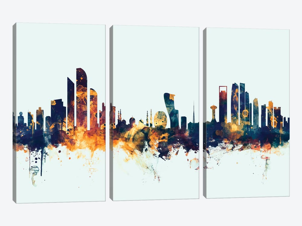 Skyline Series: Abu Dhabi, UAE On Blue by Michael Tompsett 3-piece Canvas Artwork