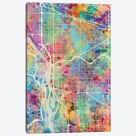 Portland Oregon City Map I Canvas Print #MTO1760} by Michael Tompsett Canvas Print