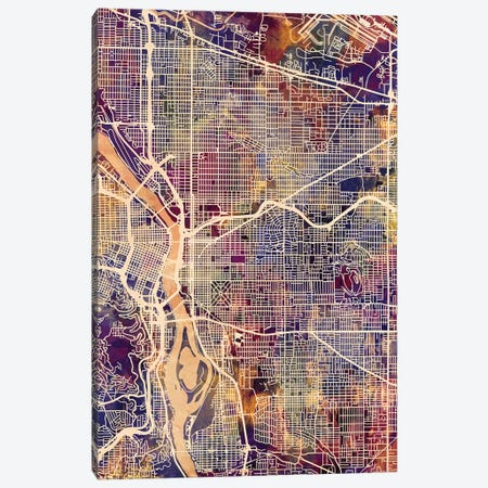 Portland Oregon City Map II Canvas Print #MTO1761} by Michael Tompsett Canvas Art Print