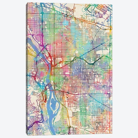 Portland Oregon City Map III Canvas Print #MTO1762} by Michael Tompsett Canvas Print