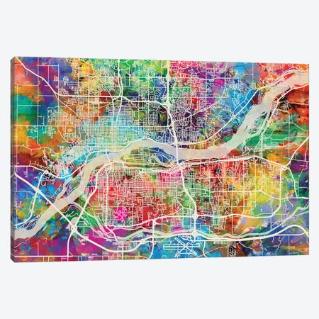 Quad Cities Street Map I Canvas Print #MTO1763} by Michael Tompsett Canvas Print