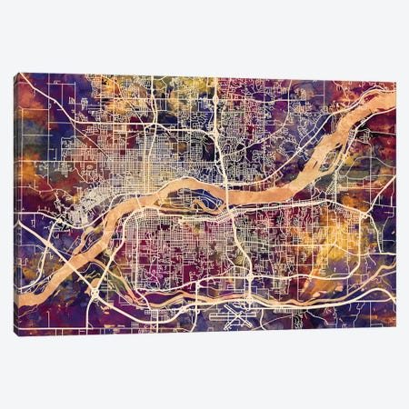 Quad Cities Street Map II Canvas Print #MTO1764} by Michael Tompsett Canvas Wall Art