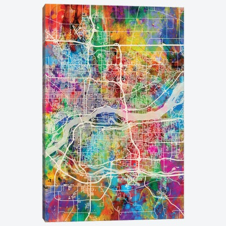 Quad Cities Street Map III Canvas Print #MTO1765} by Michael Tompsett Canvas Artwork
