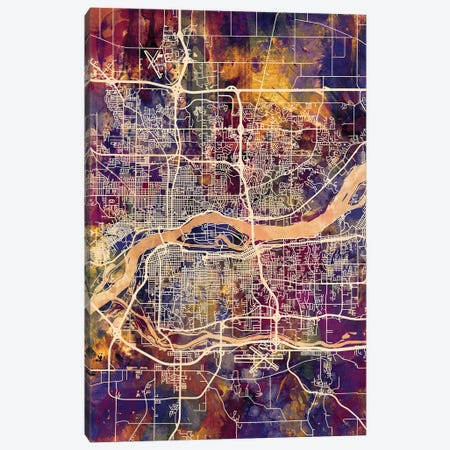 Quad Cities Street Map IV Canvas Print #MTO1766} by Michael Tompsett Canvas Artwork