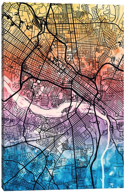 Richmond Virgina City Map IV Canvas Art Print
