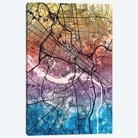 Richmond Virgina City Map IV Canvas Print #MTO1767} by Michael Tompsett Canvas Wall Art