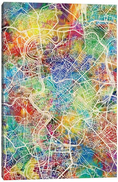 Rome Italy City Map I Canvas Art Print