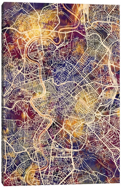 Rome Italy City Map II Canvas Art Print