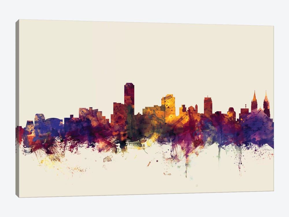 Skyline Series: Adelaide, Australia On Beige 1-piece Canvas Art Print